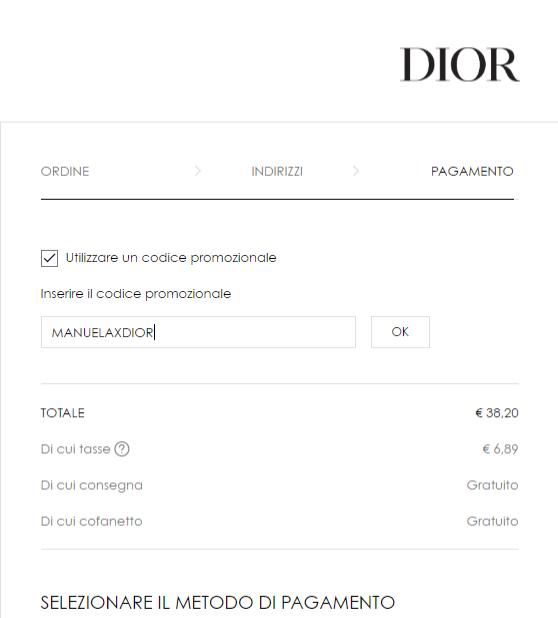 Codice omaggio sito Dior