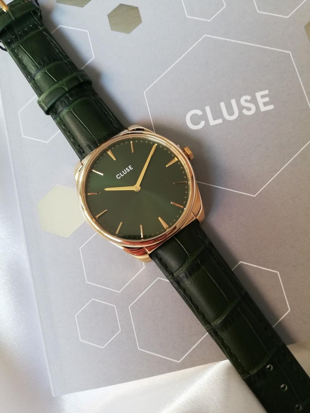 Orologio cinturino pelle cocco verde Cluse
